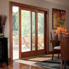 Andersen 71.25 in. x 79.5 in. 400 Series French Wood Gliding Right-Hand 6068 Pine Interior Patio Door Low-E4 Smartsun with Screen - 9117172 - The Home Depot