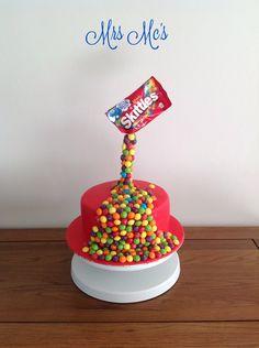Gravity Skittles cake
