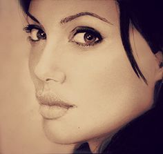 Pencil Sketch of Angelina Jolie.