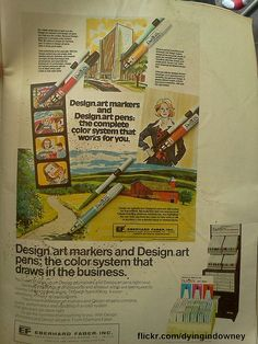 old Design Art markers ad Tore this out of an old art supply magazine. Remember these? I do.