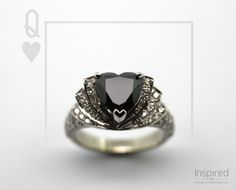 Queen of Hearts, a magnificent ring designed and crafted at The Village Goldsmith. The heart shaped natural black diamond in the centre is surrounded by white diamonds which line the tiered collars. White Diamonds, Black Diamond, Heart Shaped Diamond, Queen Of Hearts, Ring Designs, Heart Shapes, Collars, Centre, Rings For Men