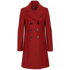 Hallhuber Wool Coat with Lapels ($255) ❤ liked on Polyvore featuring outerwear, coats, brown, women, brown coat, red flare coat, wool coat, woolen coat and flared wool coat
