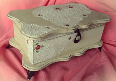 Vintage decoupage box roses white shabby chic lace