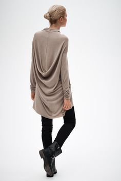 Long Sleeves Tunic Top/ Beige Drape Top/ Drape Dress/ by AryaSense