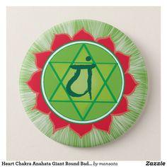 Shop Heart Chakra Anahata Giant Round Badge created by mansata. Heart Chakra, Mandala Art, Badge, Art Drawings, Om, Cute Animals, Inspirational Quotes, Humor, Pretty Animals