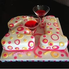 Pink and yellow spotted 21st birthday cake