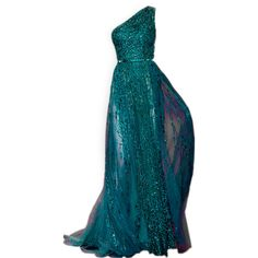 The one shoulder is beautiful. This colour would be beautiful on someone like Eva Longoria. It reminds me of the sea.  Elie Saab - satinee.polyvore.com found on Polyvore