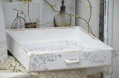 Kisten & Boxen - Alte Shabby-Holzkiste/Schublade mit Schablonierung - ein…