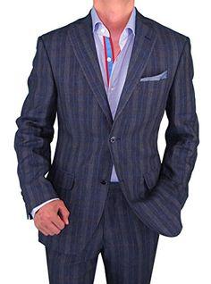 Bianco B Men's Modern Fit Two Button 2 Piece Linen Suit (36 Regular US / 46 Regular EU, Blue Windowpane) Bianco B http://www.amazon.com/dp/B00L9MA2QK/ref=cm_sw_r_pi_dp_xvADub1AVA8PW