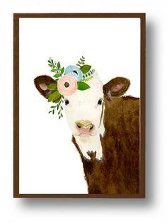 Aquarelle vache animaux de la ferme bébé vache par zuhalkanar