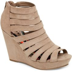 1faf43434f6 Madden Girl Taupe Kiickit Caged Open Toe Platform Wedge Sandals ( 40) ❤  liked on