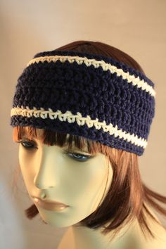Navy & Cream Ear Warmer/Headband