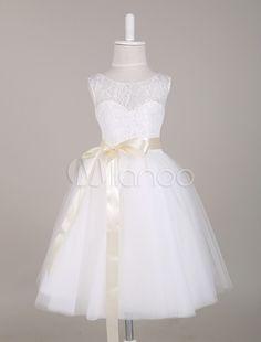 White Sash Lace Flower Girl Dress Princess Dress