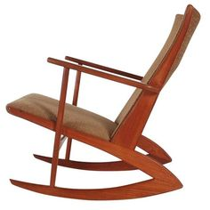 Georg Jensen Boomerang Kubus Rocking Chair in Teak, Danish Mid-Century Modern  | From a unique collection of antique and modern rocking chairs at https://www.1stdibs.com/furniture/seating/rocking-chairs/