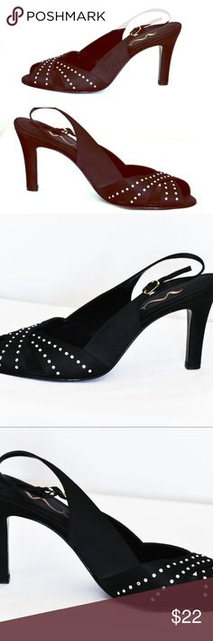 Nina Black Stilettos Shoes size 8.5 Very Good Condition! Satin Crystal Embellished Heels. Scrappy. Evening Sandals. Nina Shoes Heels