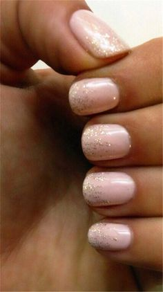 Our 30 Favorite Wedding Nail Design Ideas for Brides / Soft pink nails with ombré golden glitter ideas