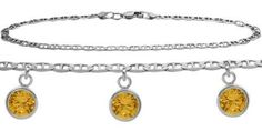 10K White Gold 10 Inch Mariner Anklet with Genuine 1.65 Carat Citrine Round Charms * Check out this great product.