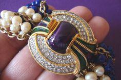 RARE Chunky Kenneth Jay Lane for Laguna Vintage Bracelet Pearl Lapis Enamel Fab | eBay