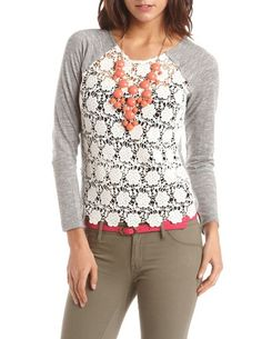 Crochet Panel Hacci Sweater: Charlotte Russe