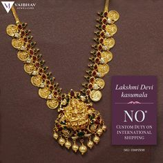 A pop of colour and a dose of tradition come together in this relic stone-studded Kasulaperu! Vaibhav Jewellers presents gold Jewellery with free custom duty on all international shipments! Gold Temple Jewellery, Gold Wedding Jewelry, Gold Jewelry Simple, Bridal Jewelry, Unique Jewelry, Jewelry Design Earrings, Gold Earrings Designs, Necklace Designs, Gold Designs