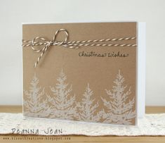 Handmade Christmas card with white trees stamped on kraft paper. Homemade Christmas Cards, Christmas Cards To Make, Xmas Cards, Homemade Cards, Holiday Cards, Stamped Christmas Cards, Christmas Diy, Merry Christmas, Minimalist Christmas