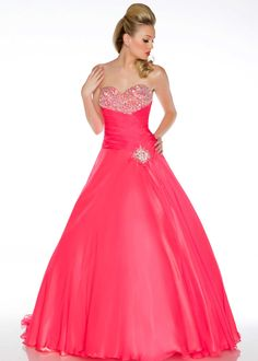 Free shipping on Ball gowns by Mac Duggal 81491H coral strapless beaded ball gown prom dresses available now at RissyRoos.com.