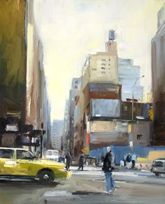 Broadway at the Junction of Fulton Street. New York. 75x61cm. David Atkins
