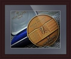 "Patek Philippe Geneve Commemorative Medal Coin // Paper: enhanced matte; Glazing: acrylic; Moulding: dark brown, large flat espresso; Top Mat: blue, china blue // Price starts at $141 (Petite: 22.25"" x 24.25""). // Customize at http://www.imagekind.com/Patek-Philippe-Geneve-PPG_art?IMID=1f63993e-3b0d-4b44-8521-e4fef1f8974d"