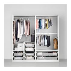 PAX Wardrobe, white, Tanem white soft closing hinge 200x60x201 cm