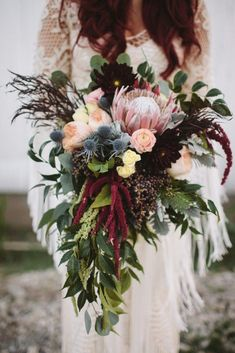 Laura and Matt's Eclectic Vintage Fall marsala and cranberry wedding bouquet. Perfect floral wedding decor - beautiful flowers wedding table decor and backdrop decor! Perfect for an elegant and chic wedding! Fall Wedding Bouquets, Flower Bouquet Wedding, Floral Wedding, Wedding Colors, Wedding Vintage, Trendy Wedding, Protea Wedding, Bridal Bouquets, Protea Bouquet