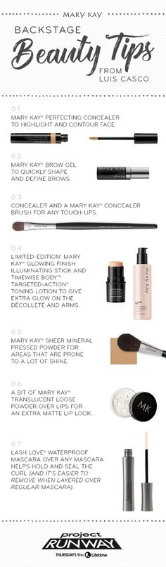 ee7f415ac Backstage beauty tips right from Project Runway! Mary Kay Global Beauty  Ambassador Luis Casco shares his secrets for contouring, concealing and  more.