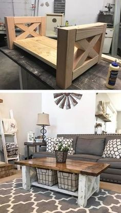 Table Basse Ferme Chunky DIY Farmhouse Coffee Table perfect for the home living room - Interior Decoration Accessories coffee tables Farmhouse Furniture, Furniture Plans, Diy Furniture, Business Furniture, Farmhouse Decor, Outdoor Furniture, Antique Furniture, Farmhouse Coffee Tables, Diy Living Room Furniture