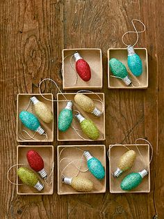 Sparkling Ornaments--turn old night-light bulbs into festive ornaments, but any size will do. Just brush on glittering glue, roll the bulb in glitter, and let dry for 15 minutes. Then hot-glue a loop of metallic embroidery floss to the bulb's base.