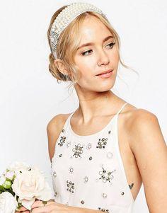ASOS WEDDING Crystal Stone and Pearl Headband