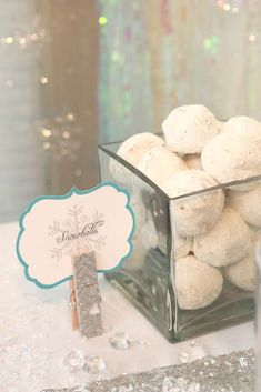 Yummy snowball cookies at a Frozen birthday party!  See more party planning ideas at CatchMyParty.com!