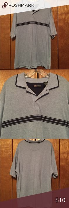 """Faded Glory men's blue polo Light blue with dark blue horizontal blue stripes. Short sleeves. Collared neck with 3 buttons. Pullover.  Side slits. 31"""" long. PRICE FIRM Faded Glory Shirts Polos"""