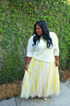 Maxi Skirt, Fashion Blogger, Romantic, Fall Fashion, Musings of a Curvy Lady, Plus Size Blogger, Pleated Skirt, Long Hair, Wavy Hair, cream outfits, women's fashion