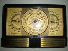 ART DECO MACHINE AGE BROWN BAKELITE TAYLOR AIRGUIDE BAROMETER & THERMOMETER