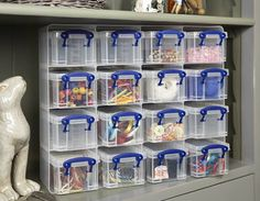 Craft storage drawers with 16 x 0.3 litre craft storage boxes
