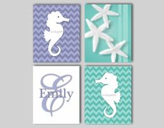 Nautical Nursery Bedding Decor Seahorse Wall by inkspotsgallery, $45.00