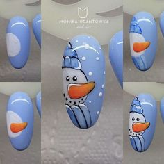 CUTE winter snowman nail art tutorial. Easy nail art ideas #unas #nailart