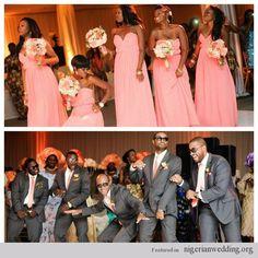 Bridal party- Bridesmaids Groomsmen Pinke charcoal grey wedding colors