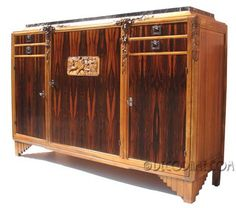 Highly decorative and functional Early French Art Deco server/ sideboard cabinet.