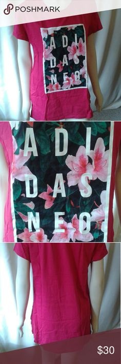 Adidas tunic Adidas in white lettering on a floral graphic, bright pink tshirt tunic, so comfy Adidas Tops Tees - Short Sleeve