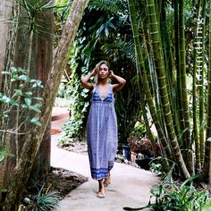 'Weekend in Bombay' by Foundling. A traditional hippie cut column maxi dress in our periwinkle blue border print - custom designed by & printed for foundling all in soft 100% pure Indian cotton voile...divine!