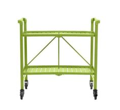 Rectangular Steel Folding Serving Cart in Apple Green Outdoor Bar Cart