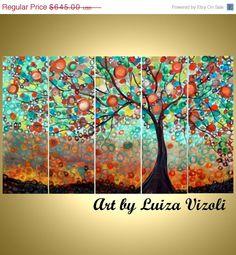 Original Large Whimsical OLIVE TREE Painting HUGE 50x30 Boho Fantasy Landscape.