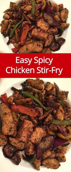 Easy Spicy Chicken Stir-Fry Recipe | MelanieCooks.com #chickenrecipeshealthystirfry