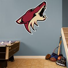 Arizona Coyotes Logo REAL.BIG. Fathead – Peel & Stick Wall Graphic | Arizona Coyotes Wall Decal | Sports Home Decor | Hockey Bedroom/Man Cave/Nursery