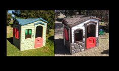 followed the idea of another post on Pinterest and used the Plastic Spray Paint to redo Little Tykes Play house.